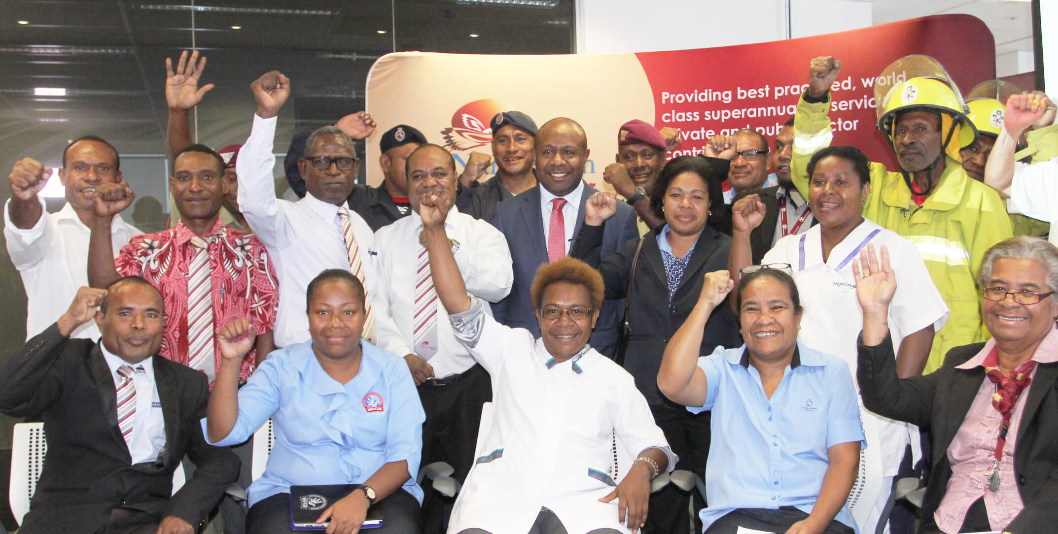 Chairman NSL Mr Anthony Smare with members of the Fund